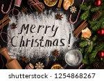 inscription merry christmas on...   Shutterstock . vector #1254868267