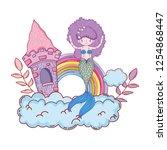 mermaid with castle undersea... | Shutterstock .eps vector #1254868447