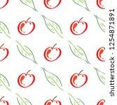 apple fruit leaf vector color...   Shutterstock .eps vector #1254871891