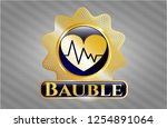 shiny badge with heart with... | Shutterstock .eps vector #1254891064