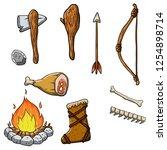 set of primitive cave of... | Shutterstock .eps vector #1254898714
