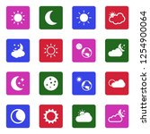 sun and moon icons. white flat... | Shutterstock .eps vector #1254900064