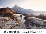 tourist with backpack enjoying... | Shutterstock . vector #1254913447