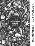 happy christmas dinner design... | Shutterstock .eps vector #1254926014