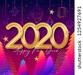 2020 happy new year background... | Shutterstock .eps vector #1254927691
