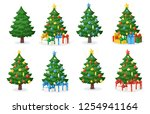 set of cartoon christmas trees... | Shutterstock .eps vector #1254941164
