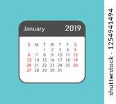 calendar january 2019 year in... | Shutterstock .eps vector #1254941494