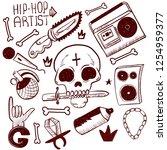 set of rap music icons. black... | Shutterstock .eps vector #1254959377