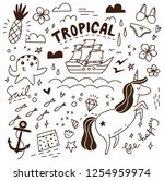 set of cute doodles background | Shutterstock . vector #1254959974