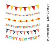 set of bright colorful bunting... | Shutterstock .eps vector #1254964594