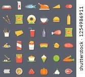 food icons symbols set retro... | Shutterstock . vector #1254986911