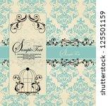 vintage blue damask invitation... | Shutterstock .eps vector #125501159