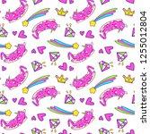 unicorn cat seamless pattern | Shutterstock .eps vector #1255012804