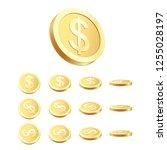golden coin set. rotating 3d... | Shutterstock . vector #1255028197