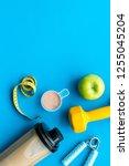 sport diet with protein... | Shutterstock . vector #1255045204