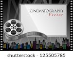 film reel and theater screen... | Shutterstock .eps vector #125505785