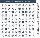 100 handle icons. trendy handle ... | Shutterstock .eps vector #1255058647