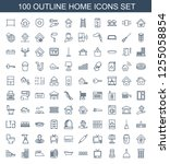 home icons. trendy 100 home... | Shutterstock .eps vector #1255058854
