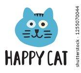 happy cat  animal head. vector...   Shutterstock .eps vector #1255070044