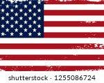 grunge american flag.vector... | Shutterstock .eps vector #1255086724