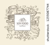 background with different soy... | Shutterstock .eps vector #1255087744