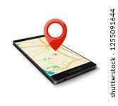 black smartphone with map gps... | Shutterstock . vector #1255091644