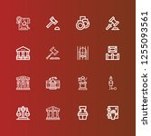 editable 16 courthouse icons... | Shutterstock .eps vector #1255093561