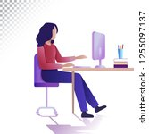 modern woman flat illustration. ... | Shutterstock .eps vector #1255097137
