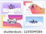 business teamwork landing page... | Shutterstock .eps vector #1255099384