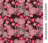 seamless pattern with flowers ...   Shutterstock .eps vector #1255125694