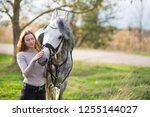 young woman with a horse for a... | Shutterstock . vector #1255144027