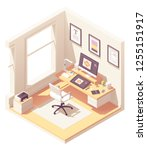 graphic designer home office or ... | Shutterstock .eps vector #1255151917