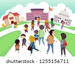 illustration of stickman kids... | Shutterstock .eps vector #1255156711