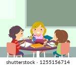 illustration of stickman kids... | Shutterstock .eps vector #1255156714