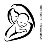 mother and baby silhouette ... | Shutterstock . vector #125516381