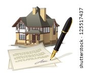 paperwork at home. illustration ... | Shutterstock .eps vector #125517437