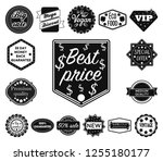 different label black icons in... | Shutterstock .eps vector #1255180177