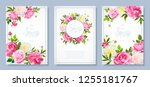Stock vector set of three floral backgrounds with blooming flowers of pink and light yellow peonies lovely 1255181767