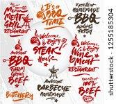 set of vector bbq calligraphic... | Shutterstock .eps vector #1255185304