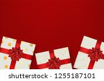 top view of present gift box... | Shutterstock .eps vector #1255187101