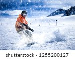 skier and alps landscape  | Shutterstock . vector #1255200127