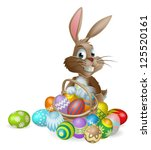 easter bunny rabbit with easter ... | Shutterstock .eps vector #125520161