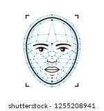 face id flat line icon.face... | Shutterstock .eps vector #1255208941