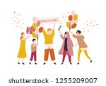 happy young men and woman... | Shutterstock .eps vector #1255209007
