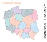 poland hand drawn map.... | Shutterstock .eps vector #1255229974