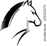 angry horse head tattoo | Shutterstock .eps vector #125523275