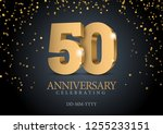 anniversary 50. gold 3d numbers.... | Shutterstock .eps vector #1255233151
