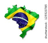 brazil map with waving flag... | Shutterstock . vector #125523785