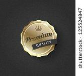 golden premium badge on striped ... | Shutterstock .eps vector #125524847