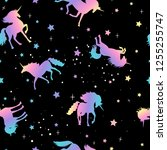 unicorn and star silhouettes... | Shutterstock .eps vector #1255255747